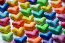 many colorful little hearts. 
