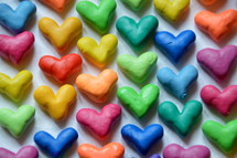 many colorful little hearts heart, hearts, love, brothers, sisters, siblings, one another, congregation, unit, form, build, shape, grow, church, christians, each, many, part, parts, nations, together, different, international, body of christ, peoples, appointment, reunion, union, cultures, various, several, diverse, color, colorful, multicolored, symbol, letter, knead, kneading, clay, dough
