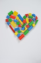 wooden blocks in the shape of a heart