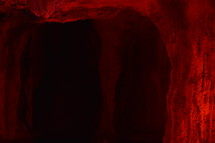 a glowing red cave.