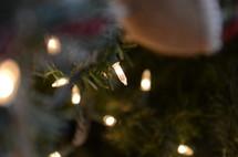 Christmas lights on a Christmas tree