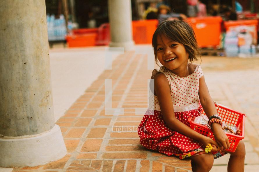 A smiling child in Cambodia.