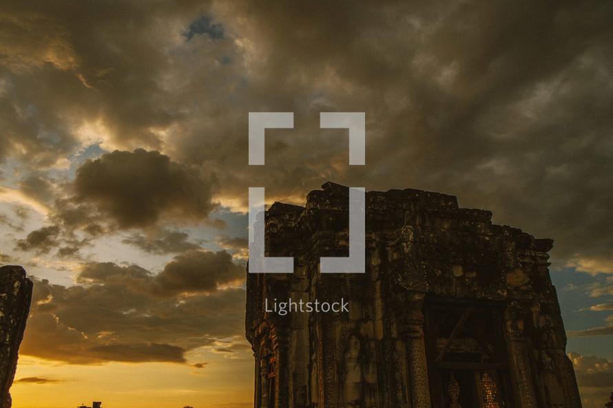 temple ruins in Cambodia at sunrise