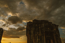 temple ruins in Cambodia at sunrise