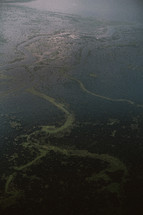 aerial view above a body of water in Cambodia