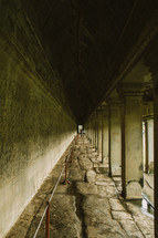 hallway of a temple in Cambodia