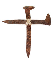 railroad spikes in the shape of a cross