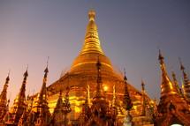 Golden temple spires at Shwedagon Pagoda