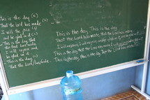 Bible scriptures on chalkboard