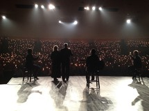 A backstage view of a concert.