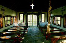 Small  old country Church interior cross benches