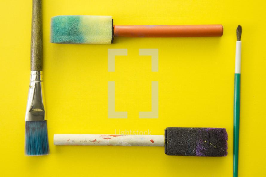paint brushes frame