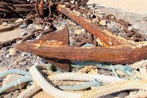 Rusted anchor ropes and chains
