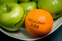 fruit of the spirit, Galatians 5:22, peace, kindness, self-control, apples, orange, green apples