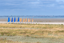 wind sails on a beach shore