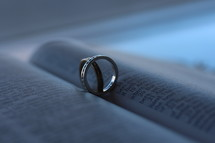 wedding rings between the pages of a Bible
