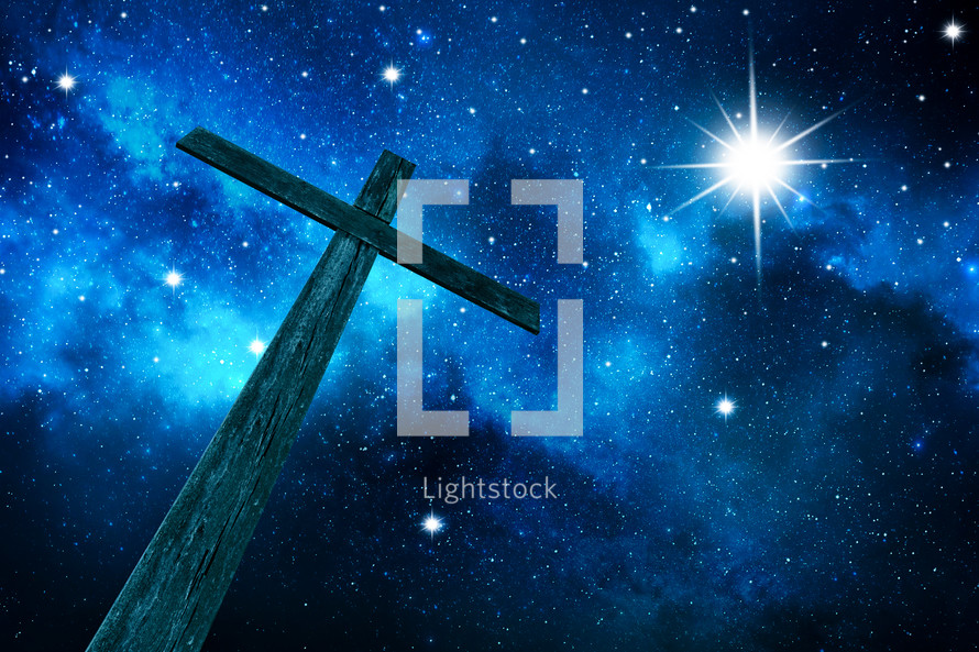 cross under stars in the night sky