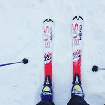 looking down at snow skis