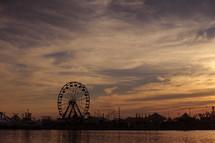 ferries wheel at sunset