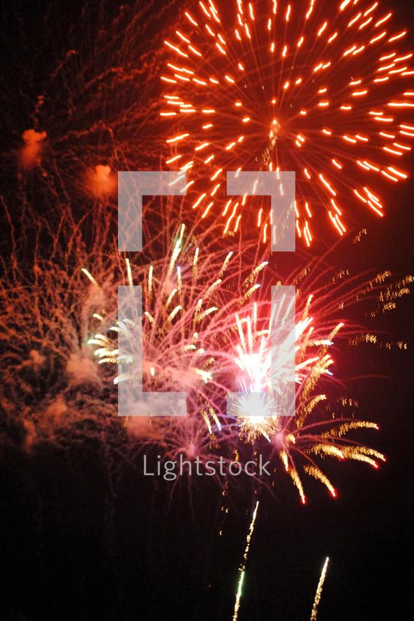 Burst of red fireworks.