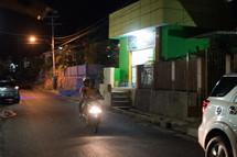 motorcycle on the streets of Luwuk, Banggai at night
