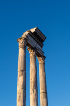 Old columns in the Roman Forum in Rome.