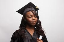 a thankful graduate in prayer