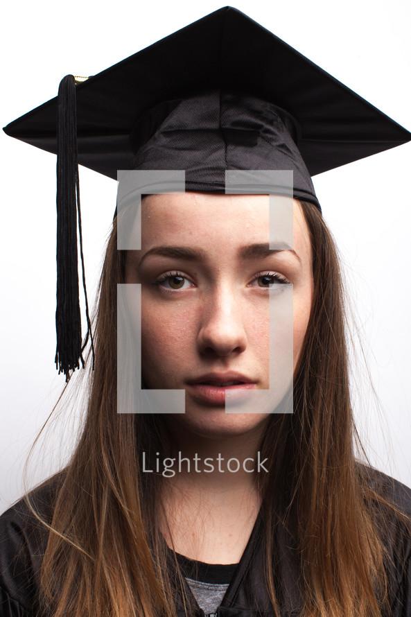 face of a sad graduate