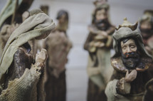wise men and Mary figurines in a Nativity scene