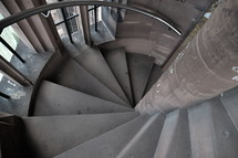 circular stairs from the belfry in an old cathedral. 