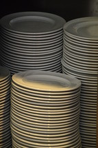 piles of plates – food for many people. 