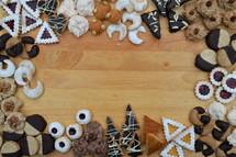 border of Christmas cookies