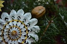 pinwheel ornament in pine garland