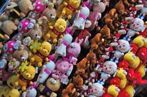 Plush toys on display