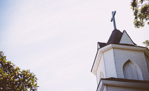 cross topper on a church steeple