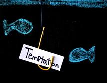 temptation, fish hook and fish