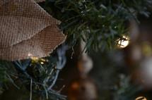 burlap and Christmas lights on a Christmas tree