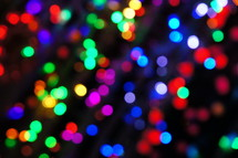 Colorful bokeh lights. Abstract, christmas, festive.