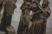 Wise men figurines in a Nativity scene