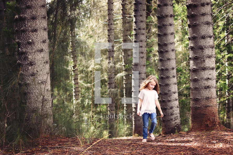 a child exploring a forest