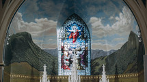 stained glass window in a chapel