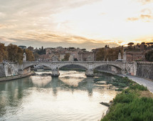 Bridge of Vittorio Emmanuel II on Tiber River and St.Peter's Basilica, Rome Italy