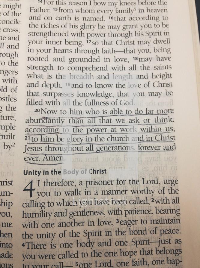 Underlined scripture in bible