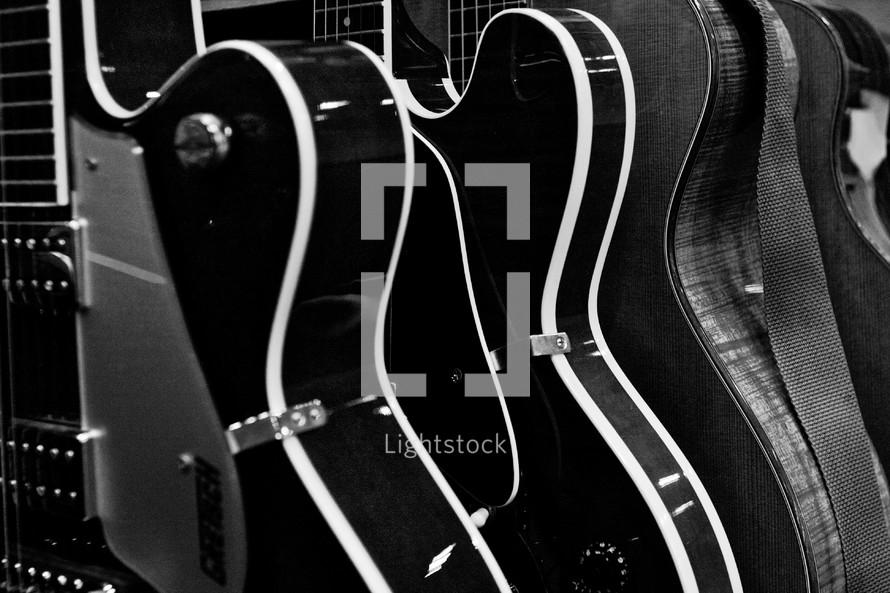 Rack of guitars