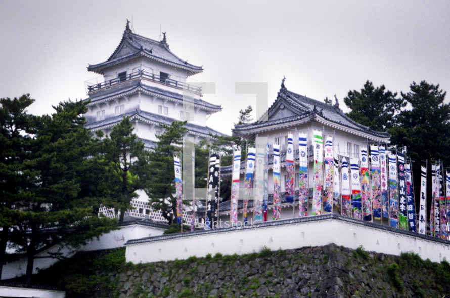 Japanese buildings and banners