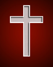 white cross against a red background