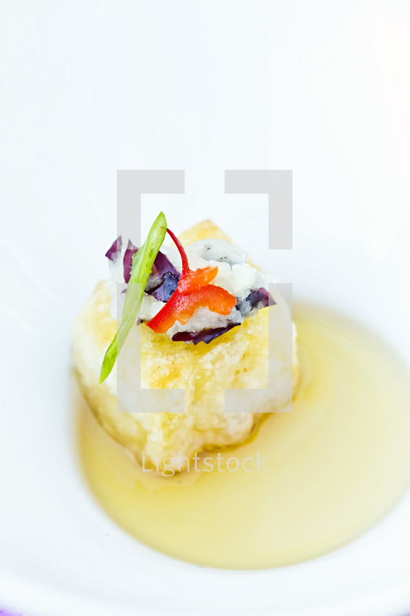 Stuffed gourmet potato  appetizer on white plate food