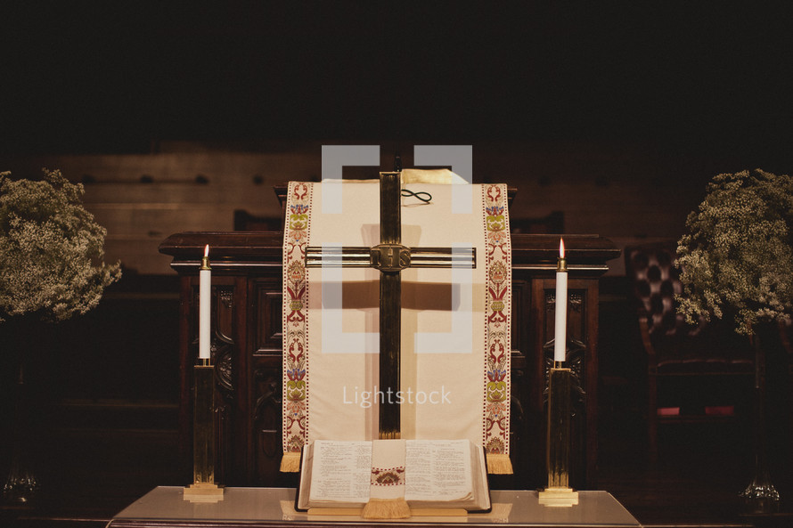 A pulpit prepared for a wedding
