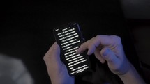 typing on an iPhone