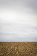 Horizon line between barren land and the sky.